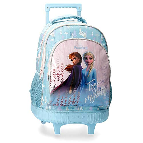 Disney Zaino Doppio Scomparto con Carrello Frozen True To Myself, Blu, 32x43x21